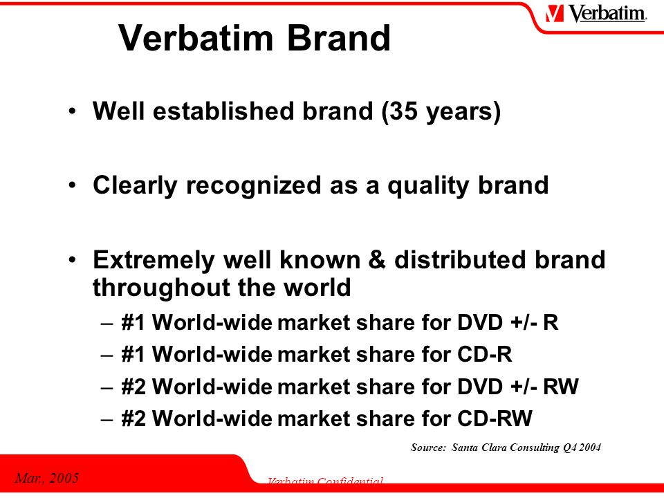 Mar., 2005 Verbatim Confidential Verbatim Brand Well established brand (35 years) Clearly recognized as a quality brand Extremely well known & distributed brand throughout the world –#1 World-wide market share for DVD +/- R –#1 World-wide market share for CD-R –#2 World-wide market share for DVD +/- RW –#2 World-wide market share for CD-RW Source: Santa Clara Consulting Q4 2004