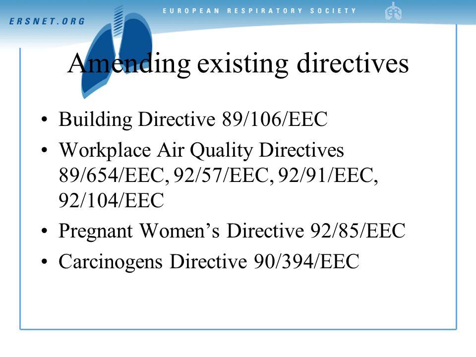 Amending existing directives Building Directive 89/106/EEC Workplace Air Quality Directives 89/654/EEC, 92/57/EEC, 92/91/EEC, 92/104/EEC Pregnant Women's Directive 92/85/EEC Carcinogens Directive 90/394/EEC