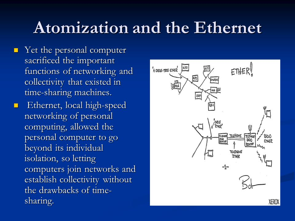 Atomization and the Ethernet Yet the personal computer sacrificed the important functions of networking and collectivity that existed in time-sharing machines.