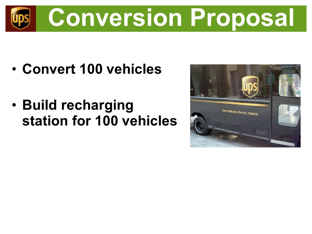 Conversion Costs Conversion cost: $53,000 o Batteries (42 kWh): $22,000 o Motor package (215 kW): $7,500 o Generator (55 kW): $7,000 o Misc: $5,000 o Installation: $11,500 Total $5.3M for 100 vehicles (Source: ElectraDrive)