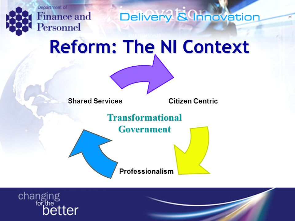 Citizen Centric Professionalism Shared Services Transformational Government Reform: The NI Context