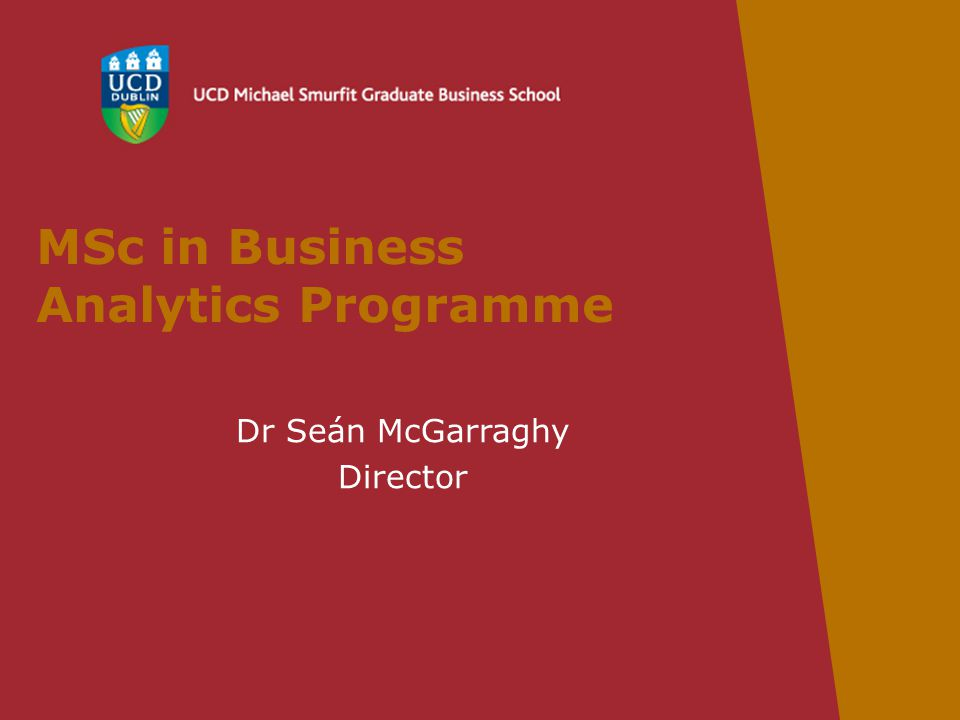 MSc in Business Analytics Programme Dr Seán McGarraghy Director