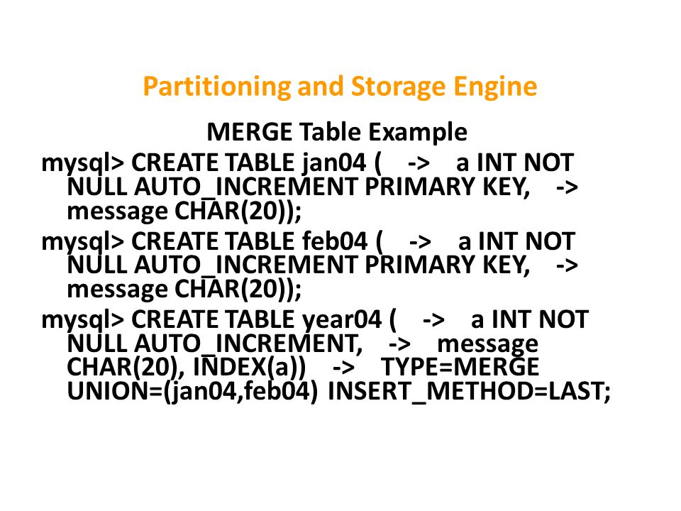 Partitioning and Storage Engine MERGE Table Example mysql> CREATE TABLE jan04 ( -> a INT NOT NULL AUTO_INCREMENT PRIMARY KEY, -> message CHAR(20)); mysql> CREATE TABLE feb04 ( -> a INT NOT NULL AUTO_INCREMENT PRIMARY KEY, -> message CHAR(20)); mysql> CREATE TABLE year04 ( -> a INT NOT NULL AUTO_INCREMENT, -> message CHAR(20), INDEX(a)) -> TYPE=MERGE UNION=(jan04,feb04) INSERT_METHOD=LAST;