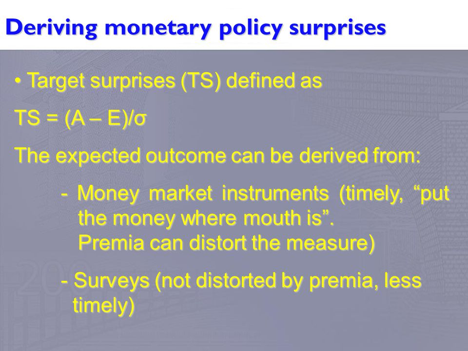 Deriving monetary policy surprises Target surprises (TS) defined as Target surprises (TS) defined as TS = (A – E)/σ The expected outcome can be derive