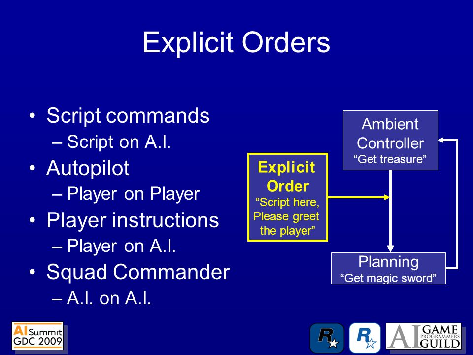 Explicit Orders Script commands –Script on A.I.
