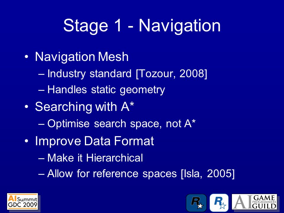 Stage 1 - Navigation Navigation Mesh –Industry standard [Tozour, 2008] –Handles static geometry Searching with A* –Optimise search space, not A* Improve Data Format –Make it Hierarchical –Allow for reference spaces [Isla, 2005]