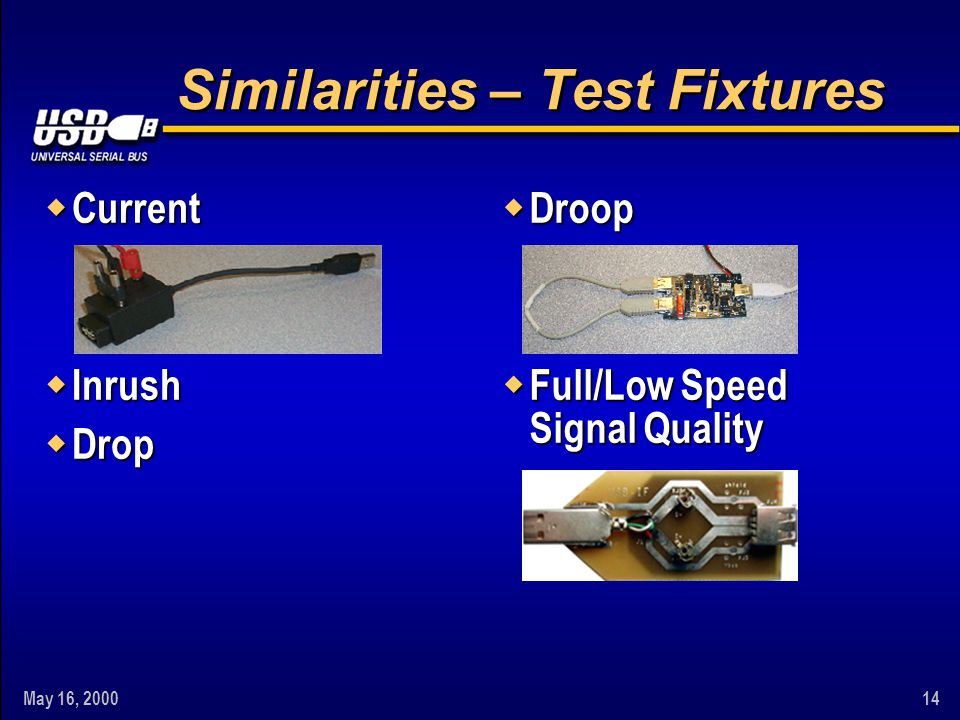 May 16, 200014 Similarities – Test Fixtures w Current w Inrush w Drop w Droop w Full/Low Speed Signal Quality