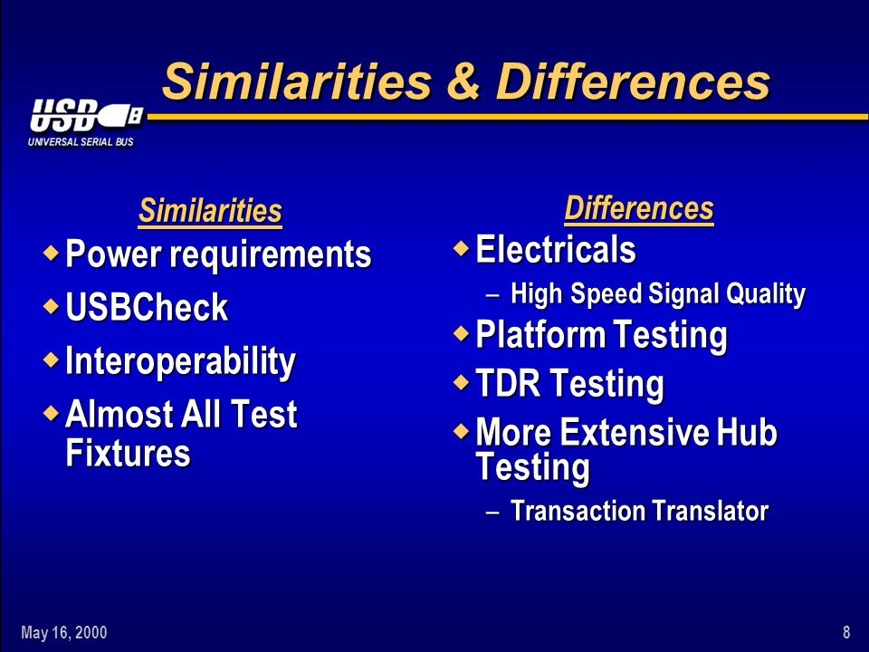 May 16, 20008 Similarities & Differences w Power requirements w USBCheck w Interoperability w Almost All Test Fixtures w Electricals – High Speed Sign