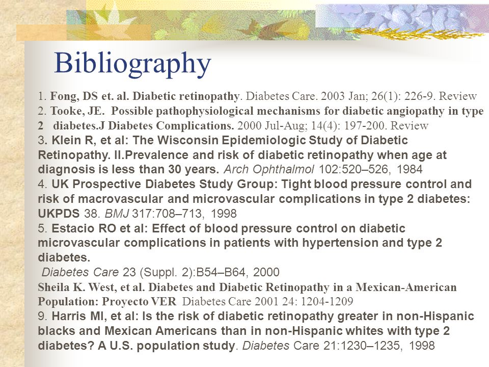Bibliography 1. Fong, DS et. al. Diabetic retinopathy.
