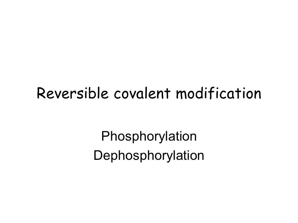 Reversible covalent modification Phosphorylation Dephosphorylation