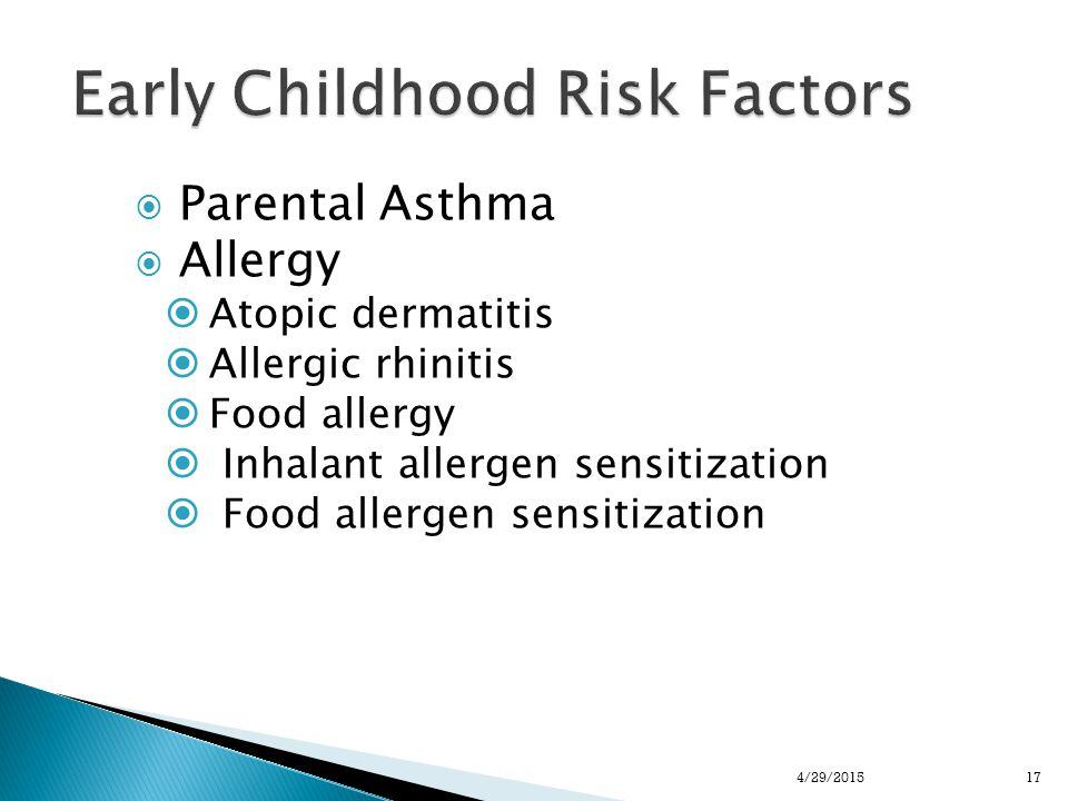  Parental Asthma  Allergy  Atopic dermatitis  Allergic rhinitis  Food allergy  Inhalant allergen sensitization  Food allergen sensitization 174/29/2015