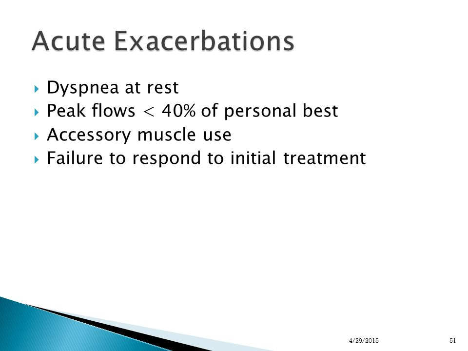  Dyspnea at rest  Peak flows < 40% of personal best  Accessory muscle use  Failure to respond to initial treatment 514/29/2015