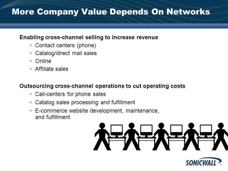 More Company Value Depends On Networks Enabling cross-channel selling to increase revenue  Contact centers (phone)  Catalog/direct mail sales  Online  Affiliate sales Outsourcing cross-channel operations to cut operating costs  Call-centers for phone sales  Catalog sales processing and fulfillment  E-commerce website development, maintenance, and fulfillment