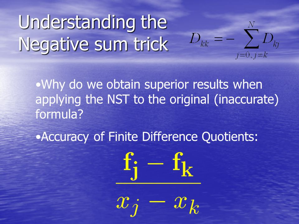 Understanding the Negative sum trick NST is an (inaccurate) implementation of the Schneider-Werner formula: Schneider-Werner Negative Sum Trick