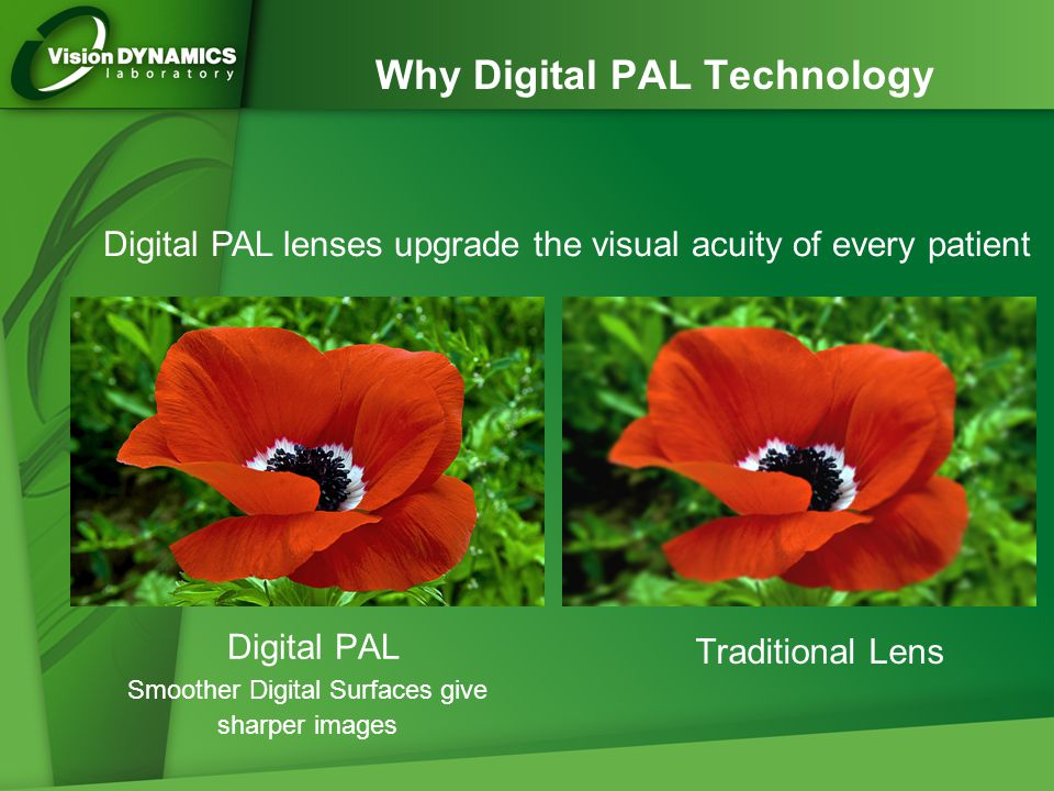 Digital PAL Smoother Digital Surfaces give sharper images Traditional Lens Digital PAL lenses upgrade the visual acuity of every patient