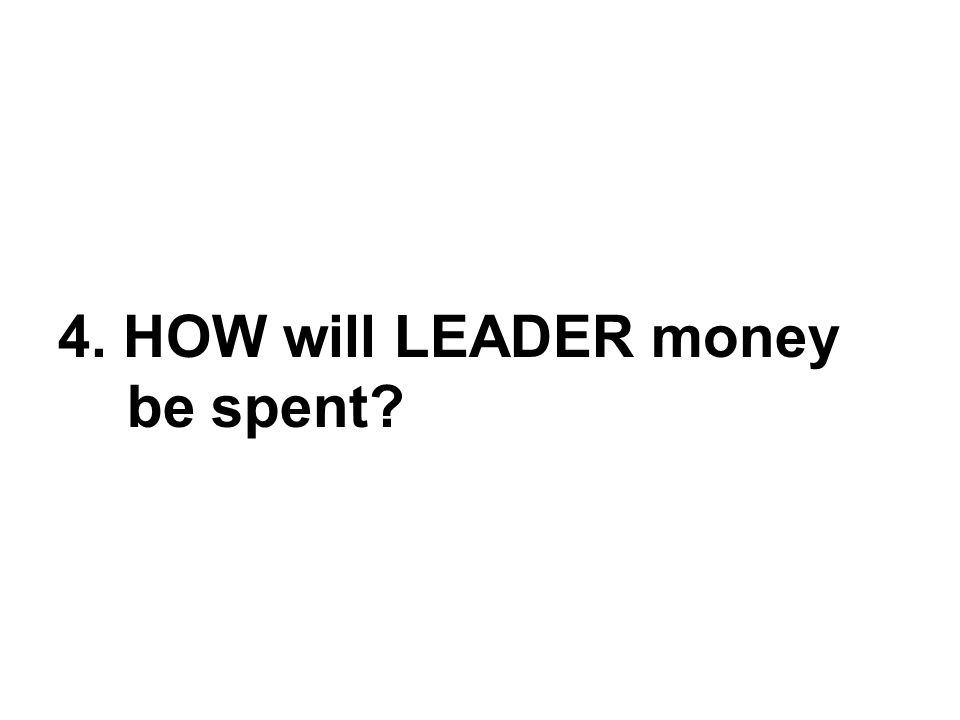4. HOW will LEADER money be spent