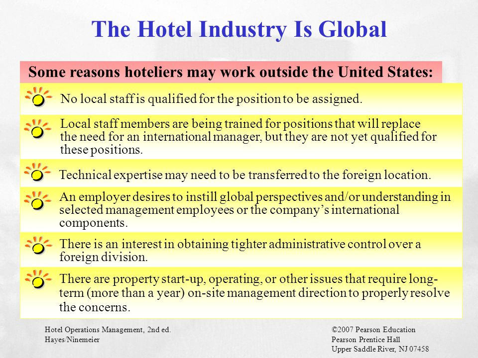 Hotel Operations Management, 2nd ed.©2007 Pearson Education Hayes/NinemeierPearson Prentice Hall Upper Saddle River, NJ 07458 Some reasons hoteliers m