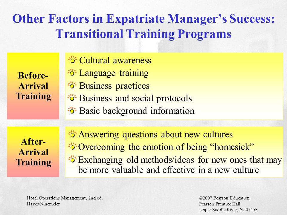 Hotel Operations Management, 2nd ed.©2007 Pearson Education Hayes/NinemeierPearson Prentice Hall Upper Saddle River, NJ 07458 Other Factors in Expatri