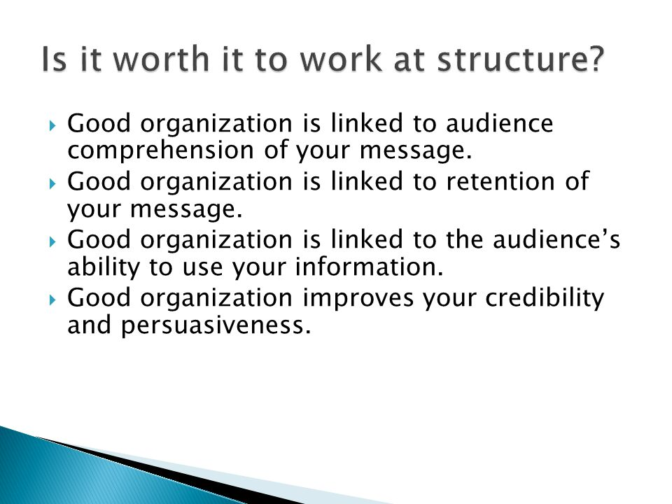  Good organization is linked to audience comprehension of your message.