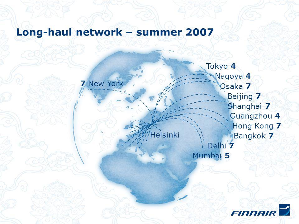Long-haul network – summer 2007 7 New York Tokyo 4 Nagoya 4 Osaka 7 Beijing 7 Shanghai 7 Guangzhou 4 Hong Kong 7 Bangkok 7 Delhi 7 Mumbai 5 Helsinki