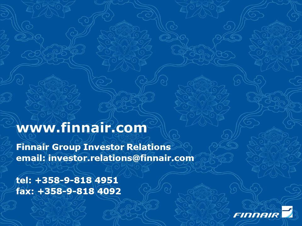 www.finnair.com Finnair Group Investor Relations email: investor.relations@finnair.com tel: +358-9-818 4951 fax: +358-9-818 4092