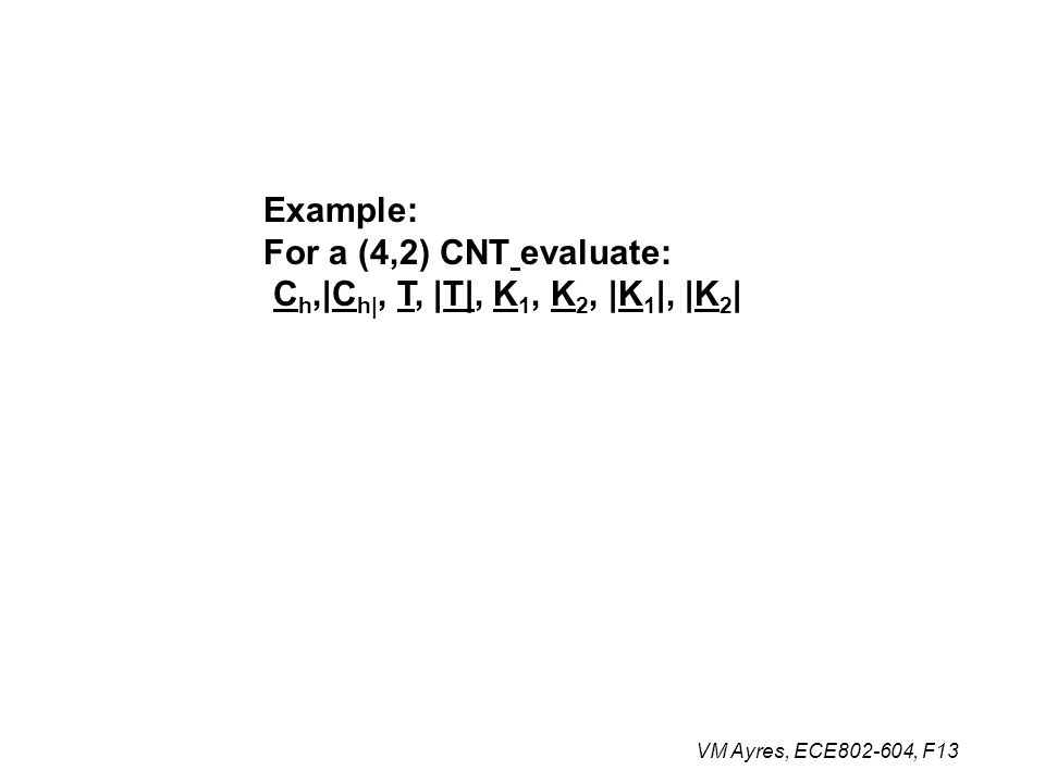 Example: For a (4,2) CNT evaluate: C h,|C h|, T, |T|, K 1, K 2, |K 1 |, |K 2 |
