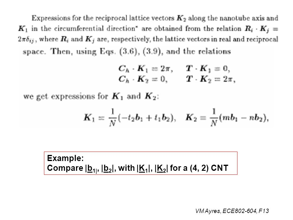 Example: Compare |b 1|, |b 2 |, with |K 1 |, |K 2 | for a (4, 2) CNT