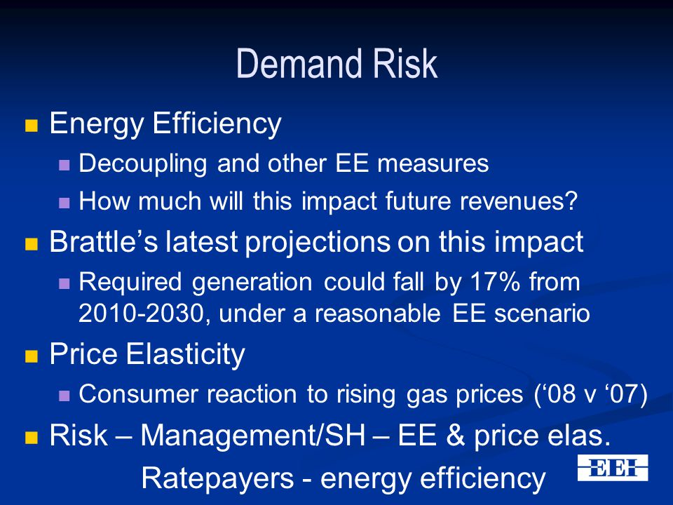 Energy Efficiency Decoupling and other EE measures How much will this impact future revenues.