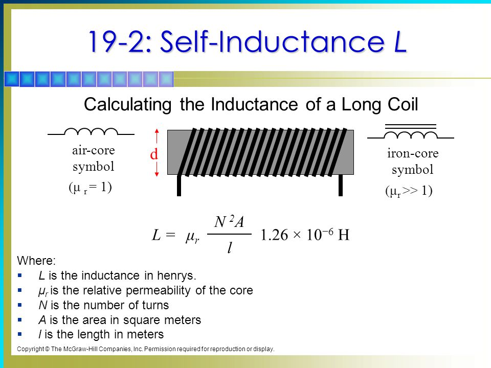19-2: Self-Inductance L Where:  L is the inductance in henrys.