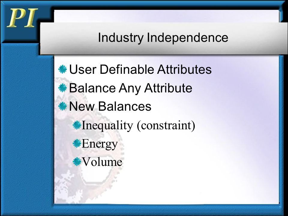 Industry Independence User Definable Attributes Balance Any Attribute New Balances Inequality (constraint) Energy Volume