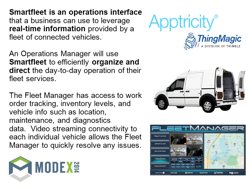 Smartfleet is an operations interface that a business can use to leverage real-time information provided by a fleet of connected vehicles.