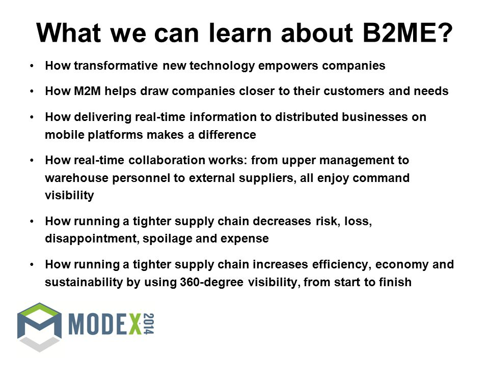What we can learn about B2ME.