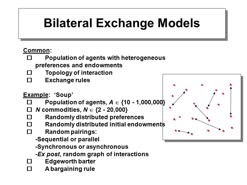 Bilateral Exchange Models Common:  Population of agents with heterogeneous preferences and endowments  Topology of interaction  Exchange rules Example: 'Soup'  Population of agents, A  {10 - 1,000,000}  N commodities, N  {2 - 20,000}  Randomly distributed preferences  Randomly distributed initial endowments  Random pairings: -Sequential or parallel -Synchronous or asynchronous -Ex post, random graph of interactions  Edgeworth barter  A bargaining rule