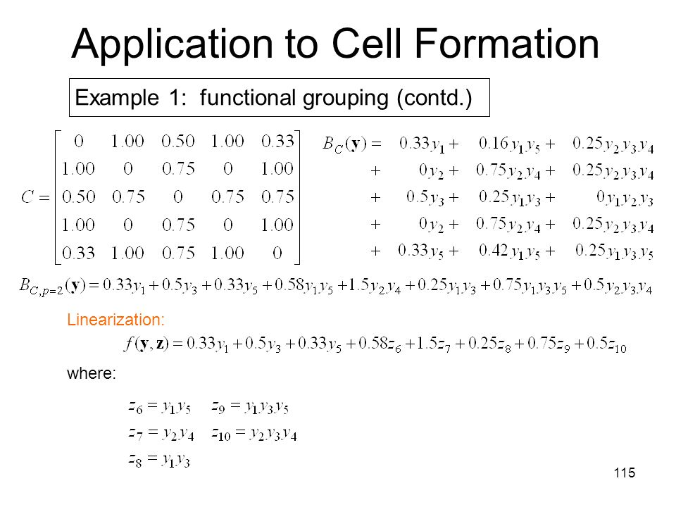 115 Application to Cell Formation Example 1: functional grouping (contd.) Linearization: where: