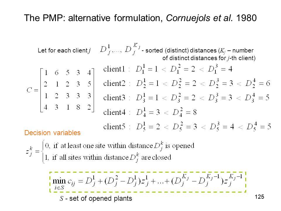 125 The PMP: alternative formulation, Cornuejols et al.