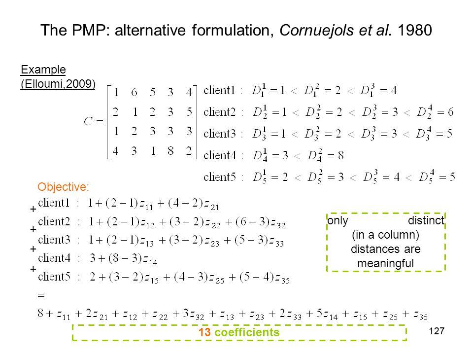 127 The PMP: alternative formulation, Cornuejols et al.