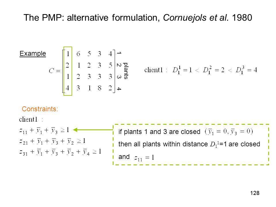 128 The PMP: alternative formulation, Cornuejols et al.