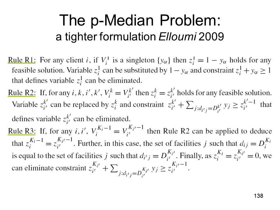 138 The p-Median Problem: a tighter formulation Elloumi 2009
