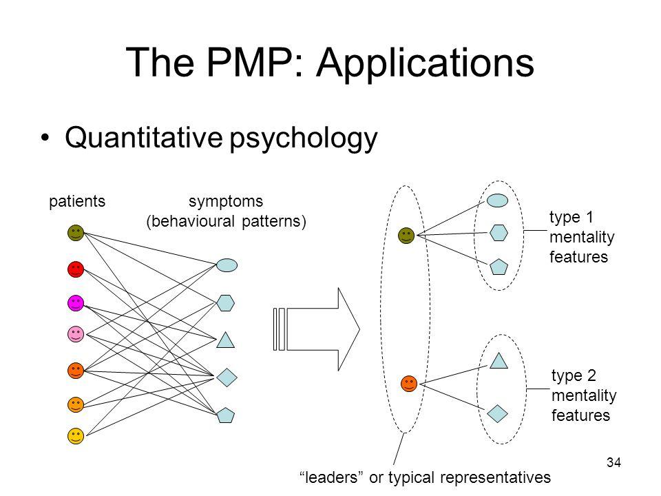 34 The PMP: Applications Quantitative psychology patientssymptoms (behavioural patterns) type 1 mentality features type 2 mentality features leaders or typical representatives