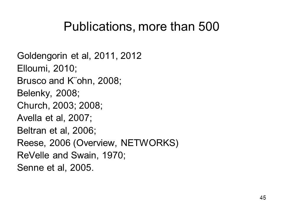 45 Publications, more than 500 Goldengorin et al, 2011, 2012 Elloumi, 2010; Brusco and K¨ohn, 2008; Belenky, 2008; Church, 2003; 2008; Avella et al, 2007; Beltran et al, 2006; Reese, 2006 (Overview, NETWORKS) ReVelle and Swain, 1970; Senne et al, 2005.