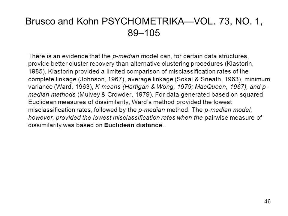 Brusco and Kohn PSYCHOMETRIKA—VOL. 73, NO.