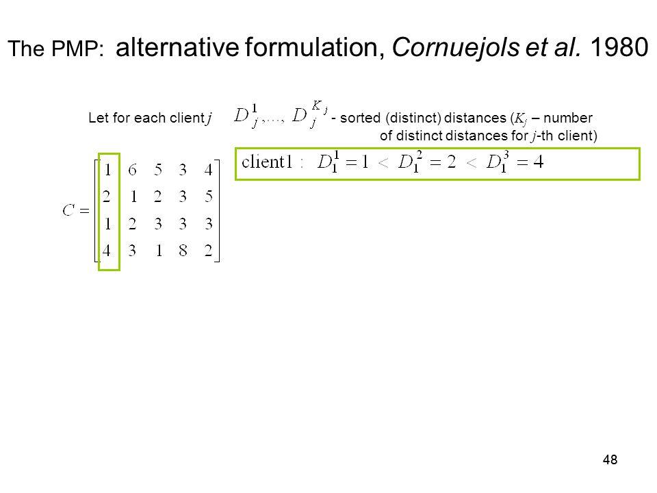 48 The PMP: alternative formulation, Cornuejols et al.