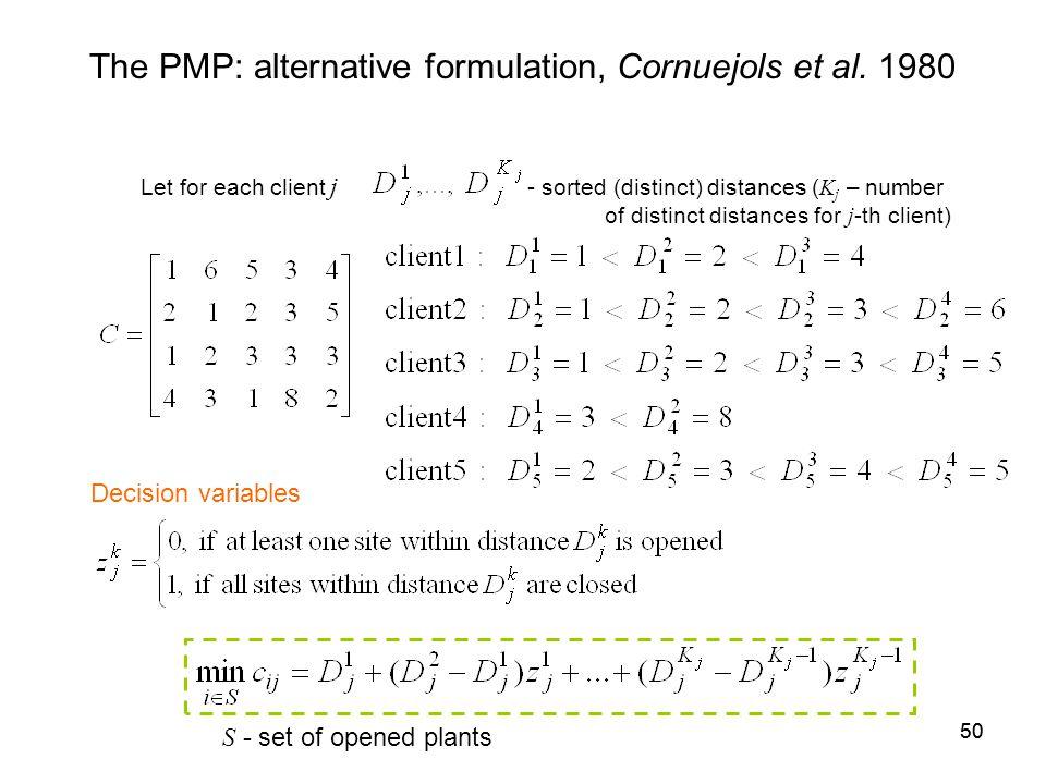 50 The PMP: alternative formulation, Cornuejols et al.