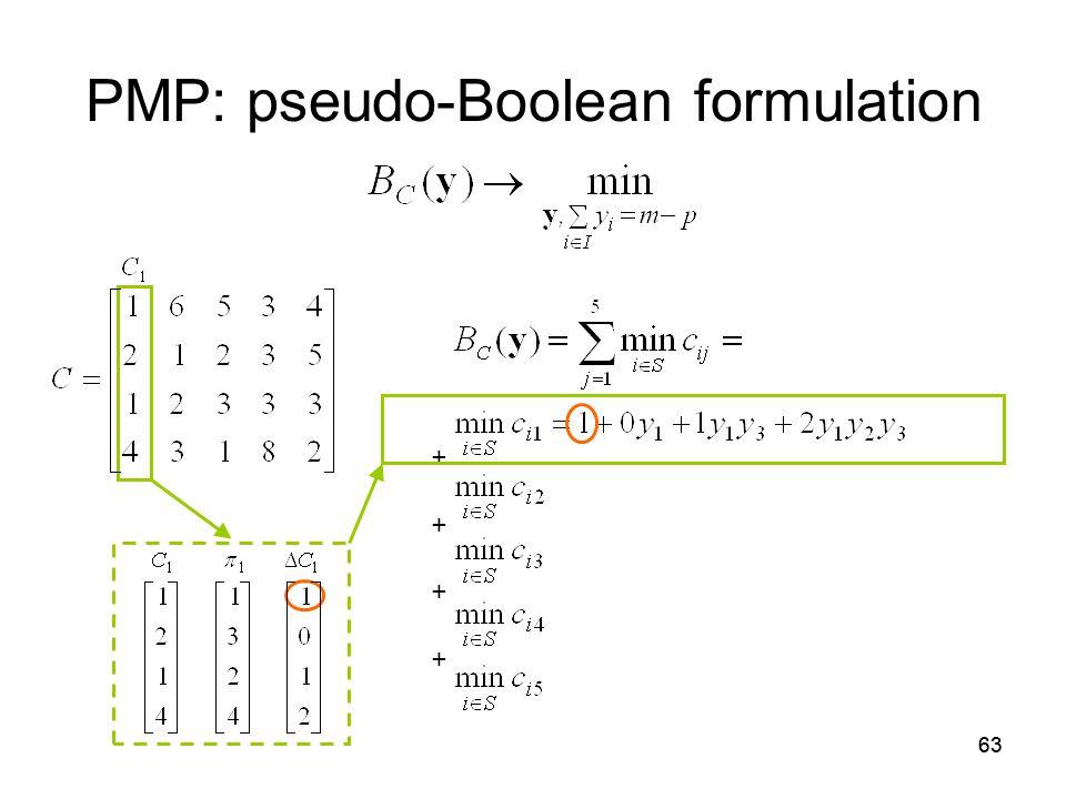63 PMP: pseudo-Boolean formulation + +