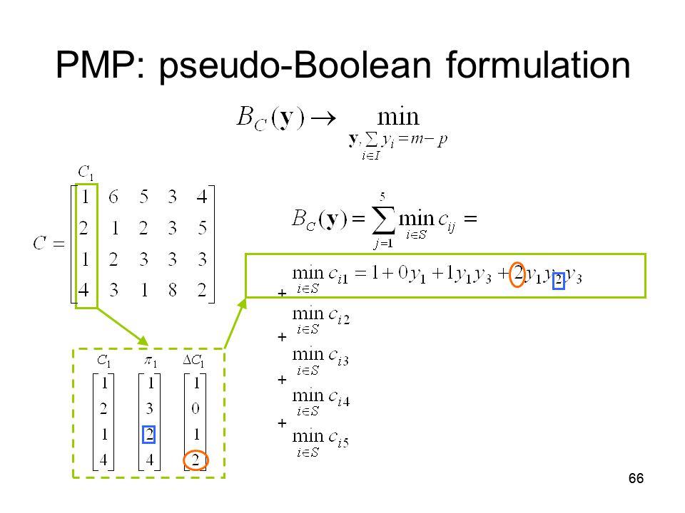 66 PMP: pseudo-Boolean formulation + +