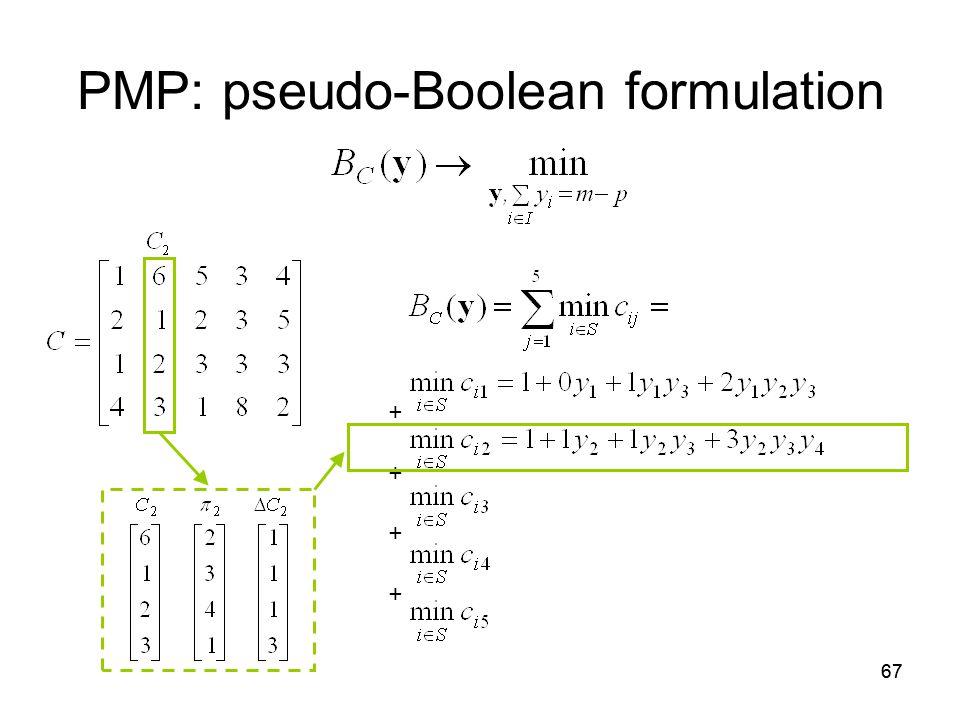 67 PMP: pseudo-Boolean formulation + +