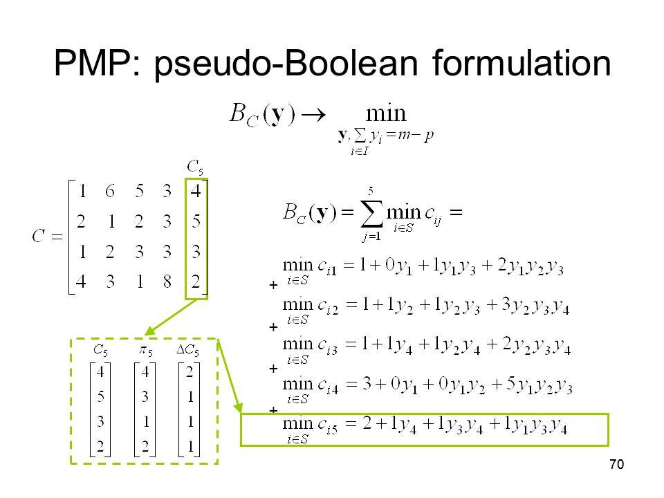 70 PMP: pseudo-Boolean formulation + +
