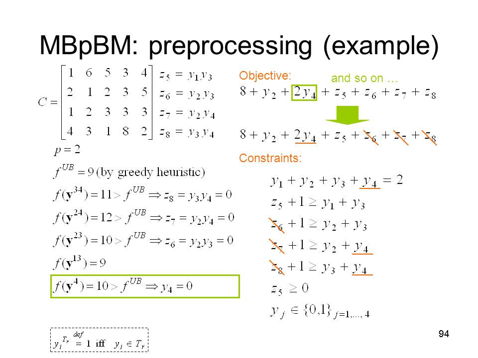 94 MBpBM: preprocessing (example) Objective: Constraints: and so on …