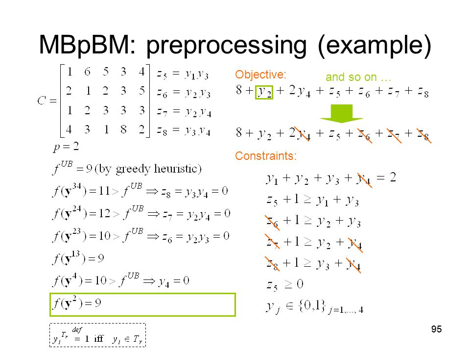95 MBpBM: preprocessing (example) Objective: Constraints: and so on …