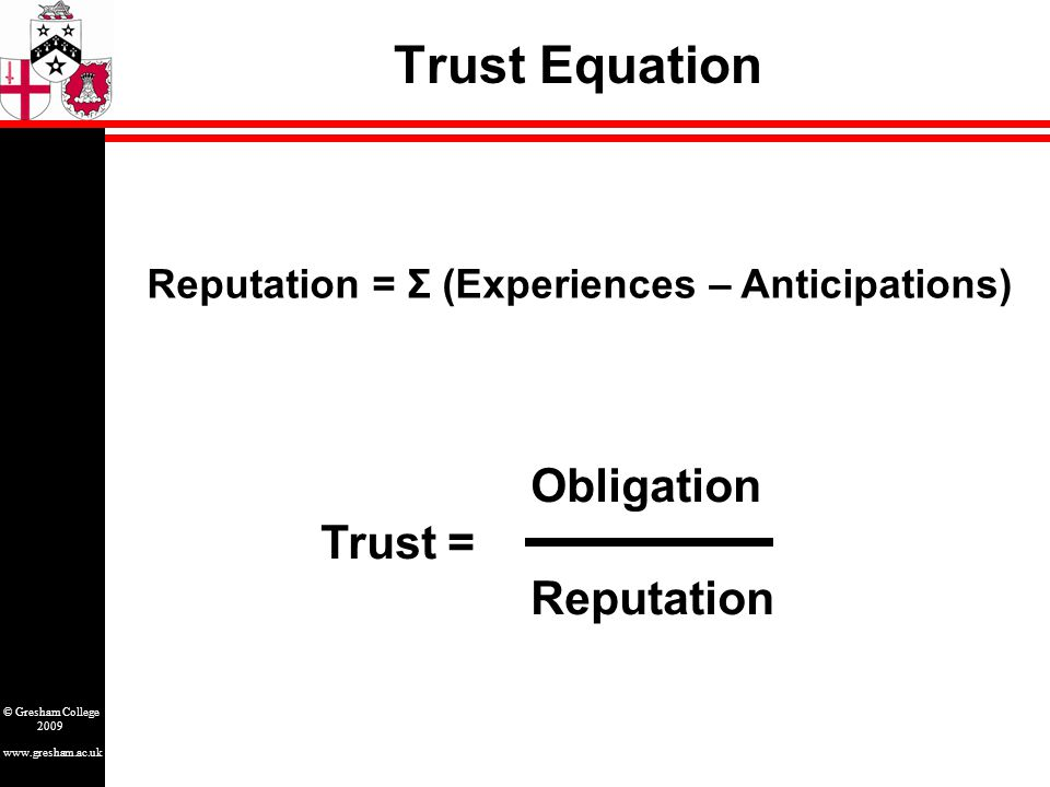 www.gresham.ac.uk © Gresham College 2009 Sowing Betrayal – Fast Crossover Anticipations Experiences creating trust trusting taking advantagebetrayal